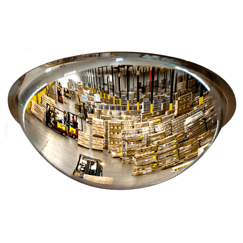 обзор в панорамное купольное зеркало на складе, производстве, в цеху, логистическом центре