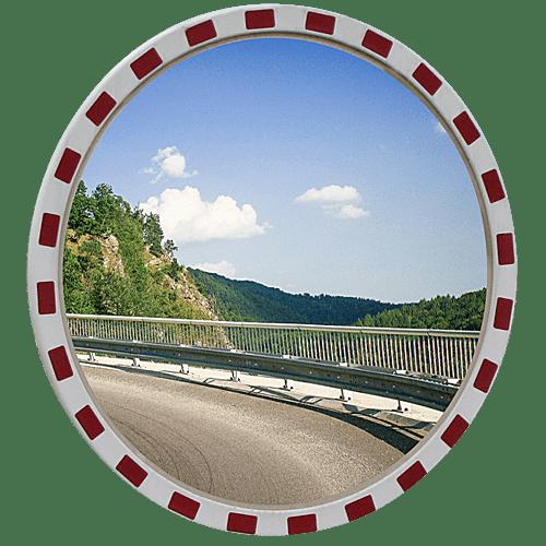 Круглое дорожное зеркало безопасности со светоотражающей окантовкой