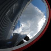 Дорожнє дзеркало безпеки вигляд в захисній плівці і без