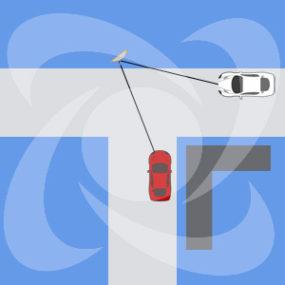 монтаж дорожного зеркала на Г образном перекрестке